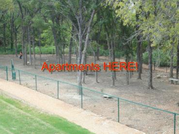 Some Apartments have HUGE FENCED areas with port a potties, uhh I mean TREES!